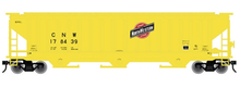 Atlas O C&NW (yellow) PS4750  cov hopper, 3 rail or 2 rail