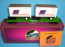 MTH Premier Burlington Northern Flat Car with (2) 20' Trailers, 3 rail