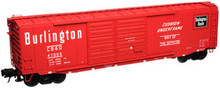 Atlas O Burlington Route (CB&Q)  50' double door box car, 3 rail or 2 rail
