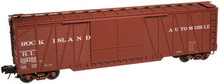 Atlas O Rock Island 50' single sheathed box car, 3 or 2 rail