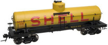 Atlas O Shell Oil (yellow) 8000 gallon tank car, 3 rail or 2 rail