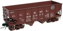 Atlas O CCC&StL  USRA 2 bay hopper (red), 3 rail or 2 rail