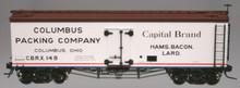 Atlas O Columbus Packing 36' wood reefer, 3 or 2 rail