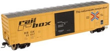 Atlas O  Railbox (large logo) 50' box car, 3 or 2 rail