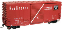 Atlas O CB&Q  40' Hy-cube box car (white door stripe), 3 rail or 2 rail