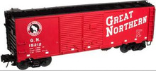 Atlas O GN (red) 1937 style 40' DD steel box car, 3 rail or 2 rail