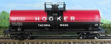 Atlas O special run Hooker (late scheme) 11,000 gal tank car, 3 rail or 2 rail
