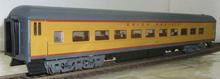 Golden Gate Depot UP (yellow) modernized heavyweight passenger coach, 3 or 2 rail