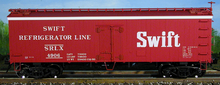 Atlas O  Swift (red) 36' wood reefer,  3 rail or 2 rail