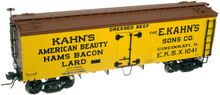 Atlas O  Kahn's  (small letters) 36' wood reefer,  3 rail or 2 rail