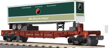 MTH Railking  Flat Car with NP Trailer, 3 rail