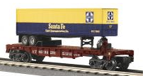 MTH Railking  Flat Car with Santa Fe Trailer, 3 rail