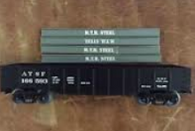 MTH Railking Santa Fe gondola with I beam load, 3 rail