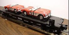 MTH Railking Flat Car with 64 corvettes, 3 rail