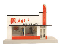MTH 30-90277 O gauge Midge's Cakes and Muffins 1 story opposite corner building.