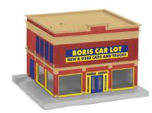 MTH 30-90416 O gauge Boris Car Lot Used Car Dealership