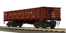 MTH Rock Island 50 Ton Composite Drop Bottom Gondola Car, 3 rail