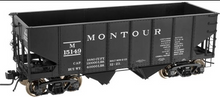 Atlas O Montour (black) USRA 2 bay hopper, 3 rail or 2 rail
