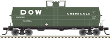 Pre-Order Atlas O  Dow Chemical (green)  11,000 gallon tank car, 3 rail or 2 rail