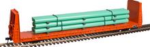 Atlas O ICG  62' Bulkhead Flat car w/pipe load, 3 rail or 2 rail