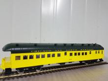 Golden Gate Depot CN&W (green/yellow) 70' harriman style  business/obs car,  2 rail