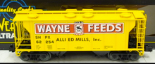 Weaver Wayne Feeds (yellow) 34' PS-2 covered hopper car, 3 rail or 2 rail
