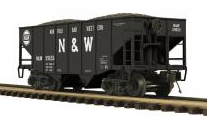 MTH Premier Norfolk & Western 2-Bay Fishbelly Hopper w/Coal Load, 3 rail