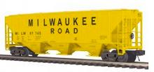 MTH Premier Milwaukee Road (yellow) PS-2CD 50' grain covered hopper, 3 rail