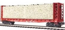 MTH Premier Santa Fe Bulkhead Flat Car w/ Pulpwood Load, 3 rail