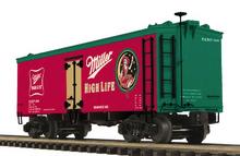 MTH Premier Miller Beer (red) 36' wood reefer, 3 rail