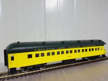 Golden Gate Depot CNW (green/yellow)  70' harriman style  4 car set ,  3 rail