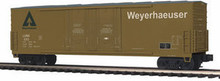MTH Premier Weyerhaeuser 50' Double Plug Door Box car, 3 rail LN