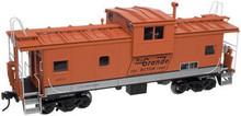 Atlas O Rio Grande (orange, silver stripe) Extended Vision caboose, 2 rail