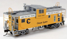 Atlas O Chessie Safety (yellow) Extended Vision caboose, 3 rail