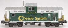 Atlas O Chessie Safety (dark green) Extended Vision caboose, 3 rail