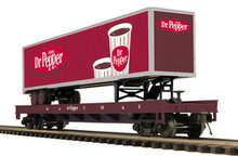 MTH Premier Dr Pepper Flat Car with 48' Trailer, 3 rail