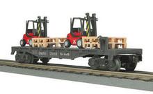 MTH Rail King Denver Rio Grande Flat Car w/(2) Fork Lifts w/Pallets, 3 rail