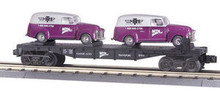 MTH Rail King MTH Transport Flat Car w/(2) Ertlr 1951 Panel Vans (purple)