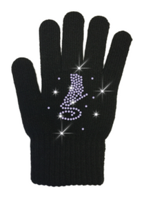 ChloeNoel Solid Skate Gloves with Swarovski Crystals