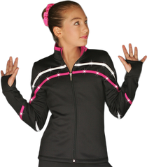 2-Tone Pipings Lt. Weight Fleece Jacket (White/Fuchsia Stripes/Crystals)