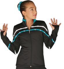 2-Tone Pipings Lt. Weight Fleece Jacket (White/Turquoise Stripes/Crystals)