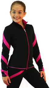 Colored Zipper Spiral Light Weight Fleece Jacket, Black/Fuchsia