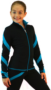 Colored Zipper Spiral Light Weight Fleece Jacket, Black/Turquoise