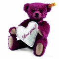 EAN 000249 Steiff mohair Florian the love messenger Teddy bear, bordeaux