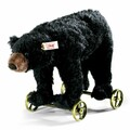 EAN 034428 Steiff mohair Black bear on wheels, black