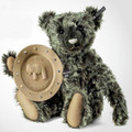 EAN 021299 Steiff mohair Fritz Teddy bear with anniversary plate, dark green