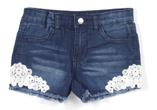 7H073(SH) - Girls' Stretch 4 Pockets Premium Shorts with Lace
