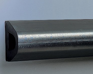 """""""D'' Shape Extruded Rubber Bumper, Undrilled, 12' length x 2'' height x 1-3/4'' depth"""