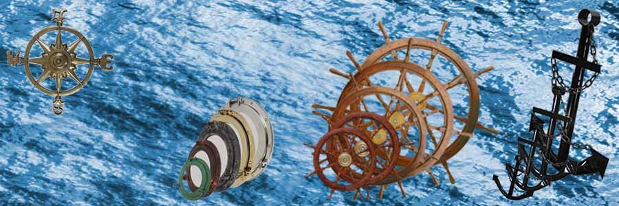 Nautical Wall Decor, Portholes, Oars, Brass Bells, Ships Wheels & Anchors