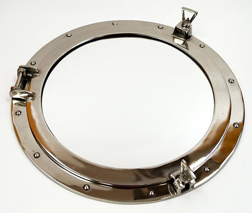 Xl ships porthole mirror aluminum chrome finish 24 for Al ahram aluminium decoration